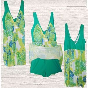 Other - NWOTGREEN PRINT ONE PIECE SKIRT SWIMSUIT